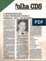 Folha CDS, nº 278 - 25 de Fevereiro de 1982