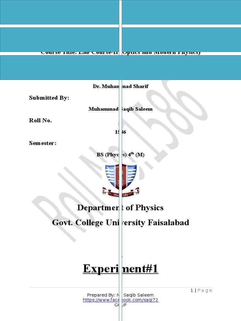 lab Manual and lab report(Optics and Modren physics) | Capacitor | Vacuum  Tube