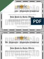 Diploma do Curso DR. NEGOCIAÇÃO - Negociações Complexas