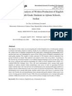 Applied Error Analysis of Written Production of English Essays of Tenth Grade Students in Ajloun Schools, Jordan