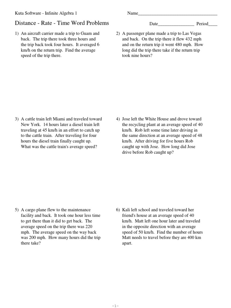 Uncategorized Distance Rate Time Word Problems Worksheet distance rate time word problems 2 pdf speed transport