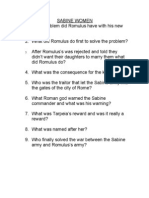 SABINE WOMEN 1. What Problem Did Romulus