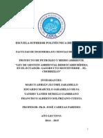 Ley de gestión ambiental petrolera aplicada al Gasoducto Monteverde-Chorrilo