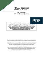 AP Calculus 2003 FRQ