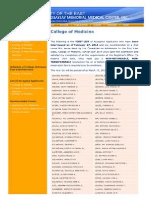 UERM Medical Center Admission 1st List 2014 | Medicine