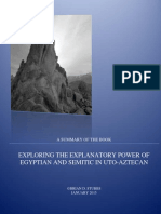Summary of Book, EXPLORING THE EXPLANATORY POWER OF SEMITIC AND EGYPTIAN IN UTO-AZTECAN