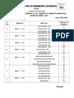 Seating Plan for Diploma I Year MAR-13