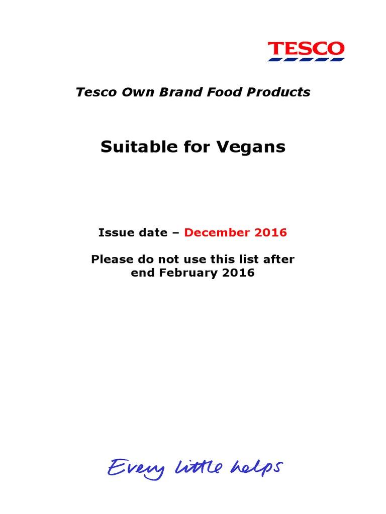 Tesco Vegan List