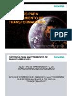 Criterios de Mantenimiento para transformadores en campo