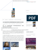 Los 15 Arquitectos Contemporáneos más famosos del mundo ~ ARQUITECTURA CONTEMPORANEA