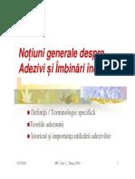 1MT2010 Curs 1 Adezivi Adeziune Imbinari Incleiate Teorii Importanta