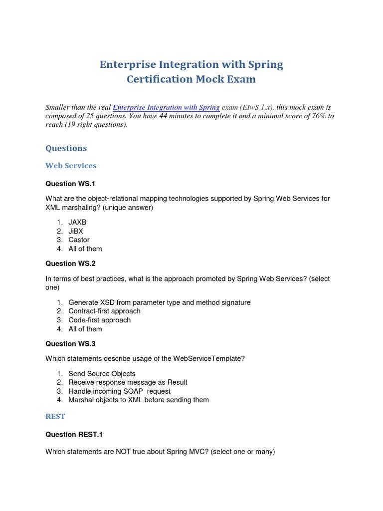Enterprise spring integration certification mock exam1pdf enterprise spring integration certification mock exam1pdf representational state transfer enterprise java beans xflitez Images