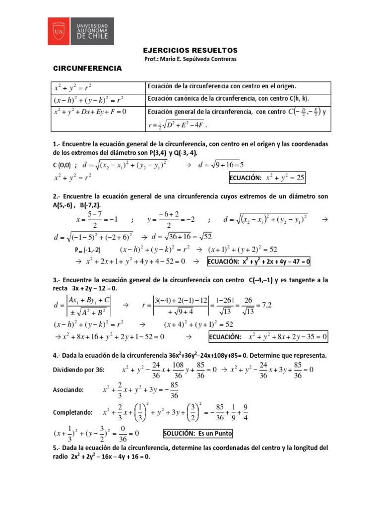 Circunferencia Y Parabola Guia Resuelta