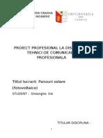 Panouri Solare Proiect Tema de Cercetare