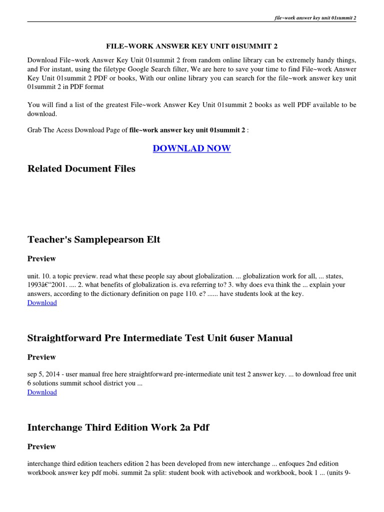 Free Worksheet Language Handbook Worksheets Answer Key Online filework answer key unit 01summit 2 pdf