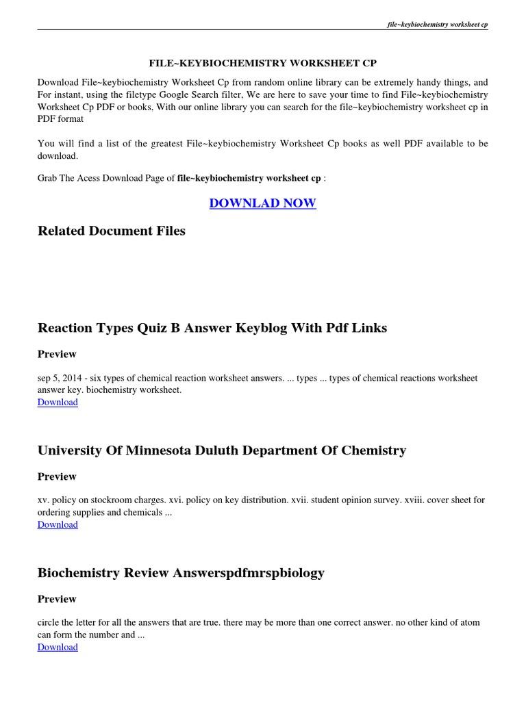 Workbooks physics worksheets with answers : file~keybiochemistry-worksheet-cp.pdf | Macromolecules | Biochemistry