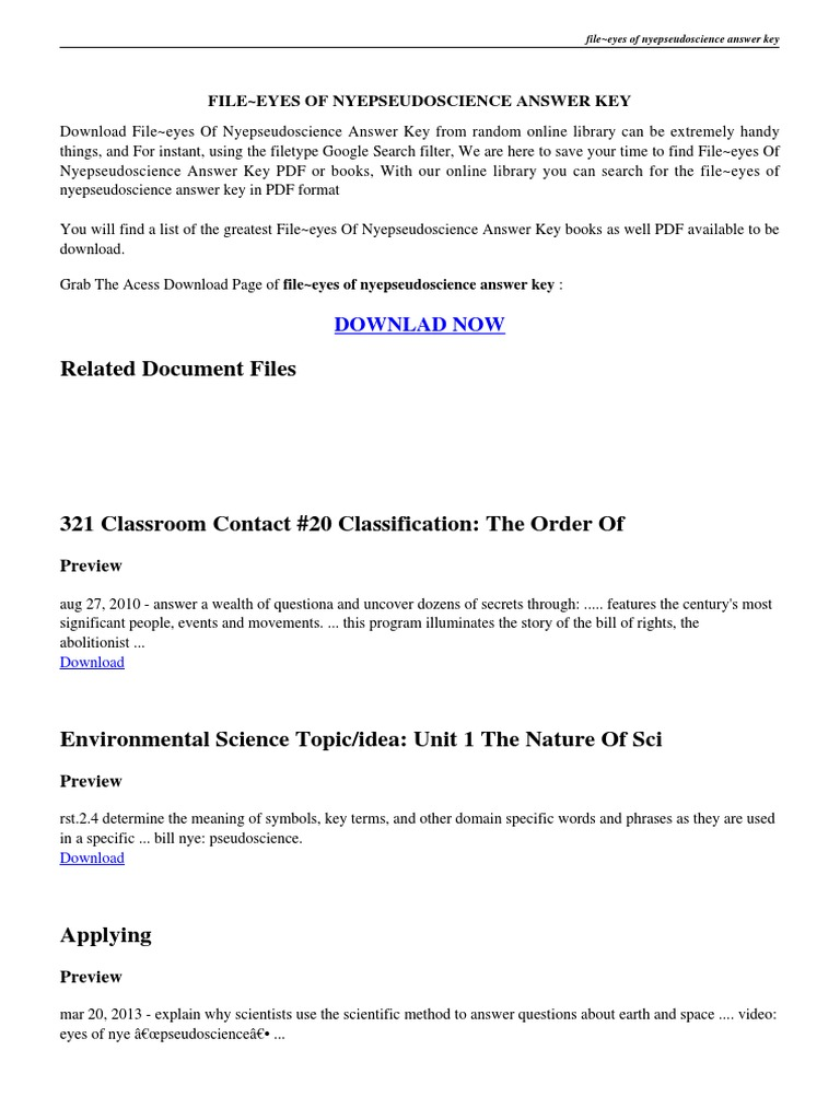 Worksheets Answer Key To Science Worksheets eyes of nye pseudoscience worksheet science