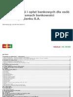 mBank - Tabela Oplat i Prowizji od 6 lutego 2015 roku