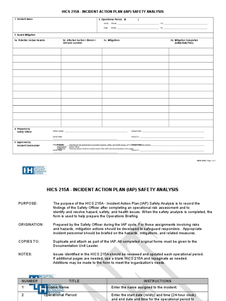 Hics 215a Incident Action Plan Iap Safety Analysis | Hazards | Emergency  Management