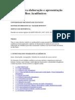 Normas Para Elaboração e Apresentação de Trabalhos Acadêmicos