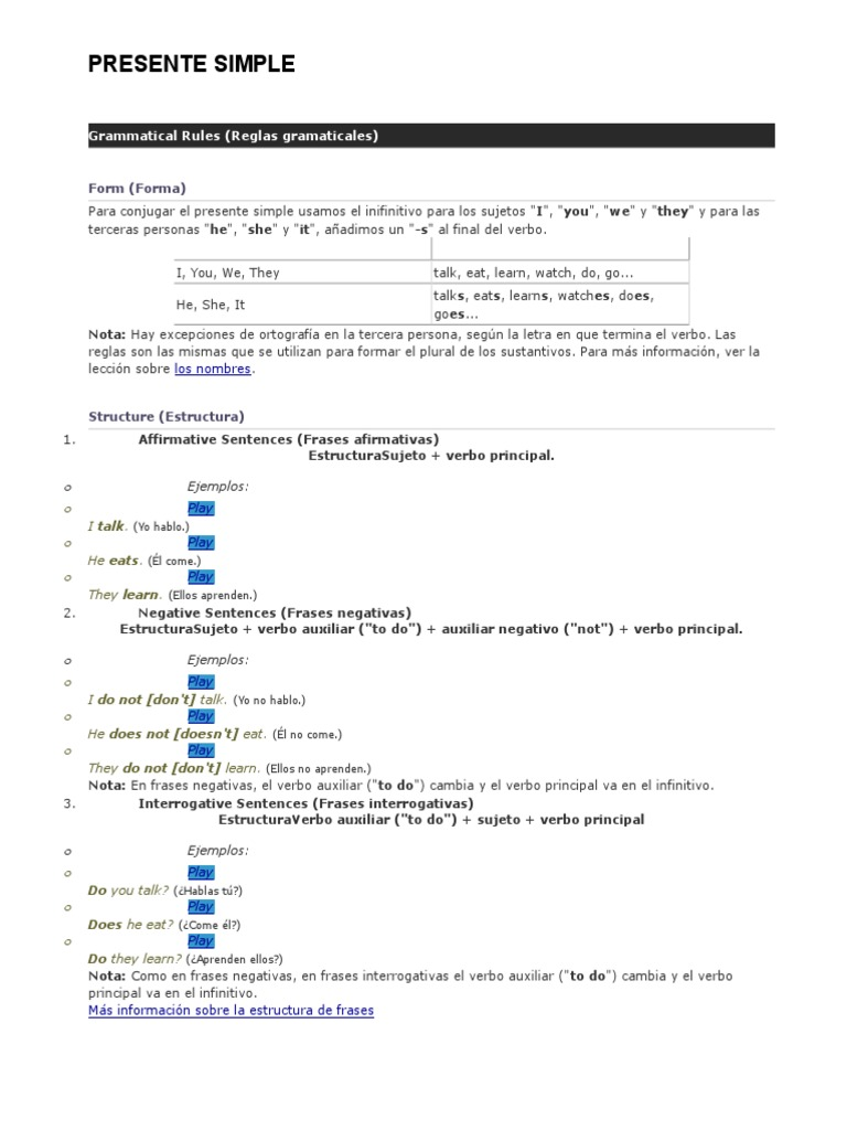 Presente Simple Linguistic Typology Linguistics