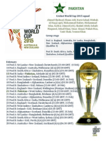 Pakistan Cricket Team for World Cup 2015