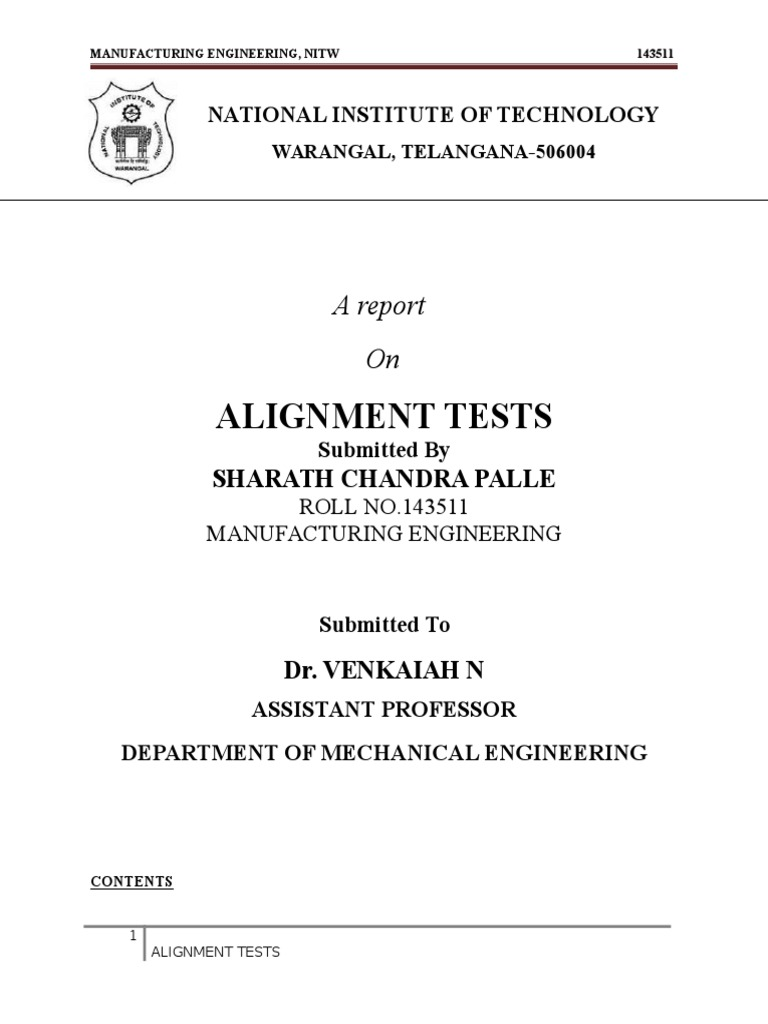 Alignment Test Report