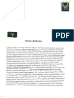 Statutory Declaration to Gov. Martin O'Malley