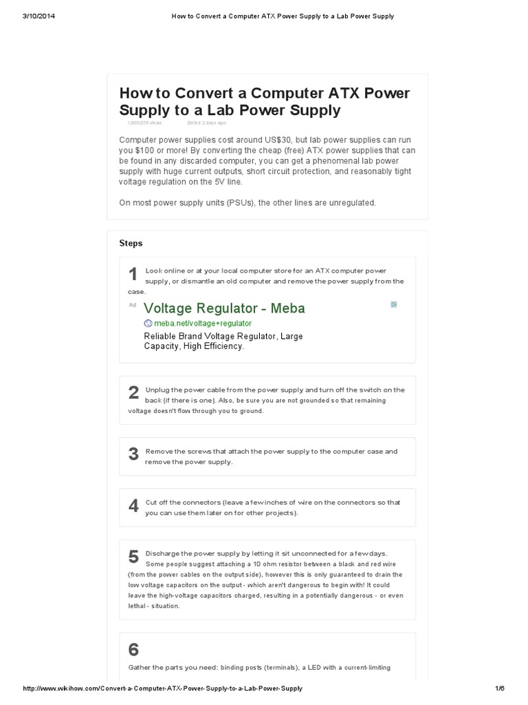 How to Convert a Computer ATX Power Supply to a Lab Power Supply ...