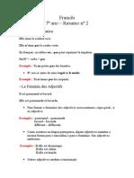 Resumo Francês 7º Ano