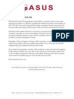 ASUS statement regarding HLTH 102