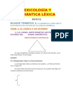 Lexicología y semántica léxica