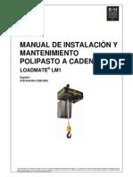Manual de Instalación y Mantenimiento Polipasto a Cadena LoadMate LM1