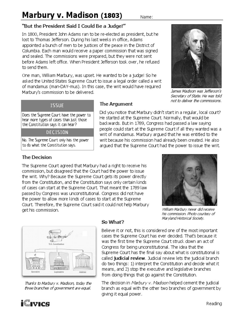 Marbury v Madison and other Marshall Court Cases by Scott Chrisman besides Marbury V Madison Worksheet   fadeintofantasy in addition worksheet  Marbury V Madison Worksheet Answers  Carlos Lomas in addition  together with Marbury v  Madison  Ex le    MindMeister additionally Marbury V Madison Worksheet additionally  additionally Marbury V Madison Worksheet Awesome What Did John Marshall Ac Plish together with Judicial Review Marbury v  Madison DBQ together with  as well Marbury v Madison Worksheet besides Marbury v  Madison DBQ Lesson further Three landmark court cases answers additionally Marbury v  Madison  1803  Elements of the Case State the issue also Radiolab More Perfect Supreme Court Guided Listening Questions together with Supreme Court Case Stus   PDF. on marbury v madison worksheet answers