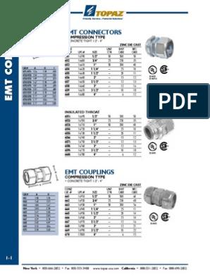 EMT CONDUIT FITTING - TOPAZ | Equipamiento | Metalistería