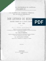Los Orígenes Del Gobierno Virreinal en Las Indias Españolas - Don Antonio de Mendoza, Primer Virrey de La Nueva España (1535-1550)