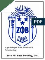 Zeta Phi Beta Beta Alpha Zeta Chapter Scholarship Application 2015
