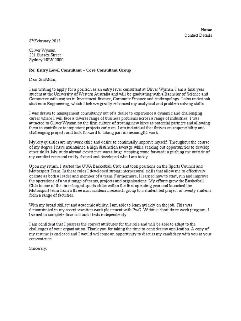oliver wyman cover letter consultant psychology cognitive