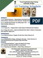 2015 Winter Dog Training Schedule
