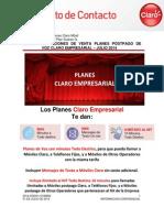 Condiciones de Venta Planes Postpago de Voz Claro Empresarial – Julio 2014
