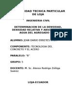 Determinacion de La Densidad, Densidad Relativa y Absorcion de Agua Del Agregado Fino