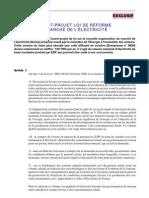 AVANT-PROJET LOI DE RÉFORME DU MARCHÉ DE L'ÉLECTRICITÉ