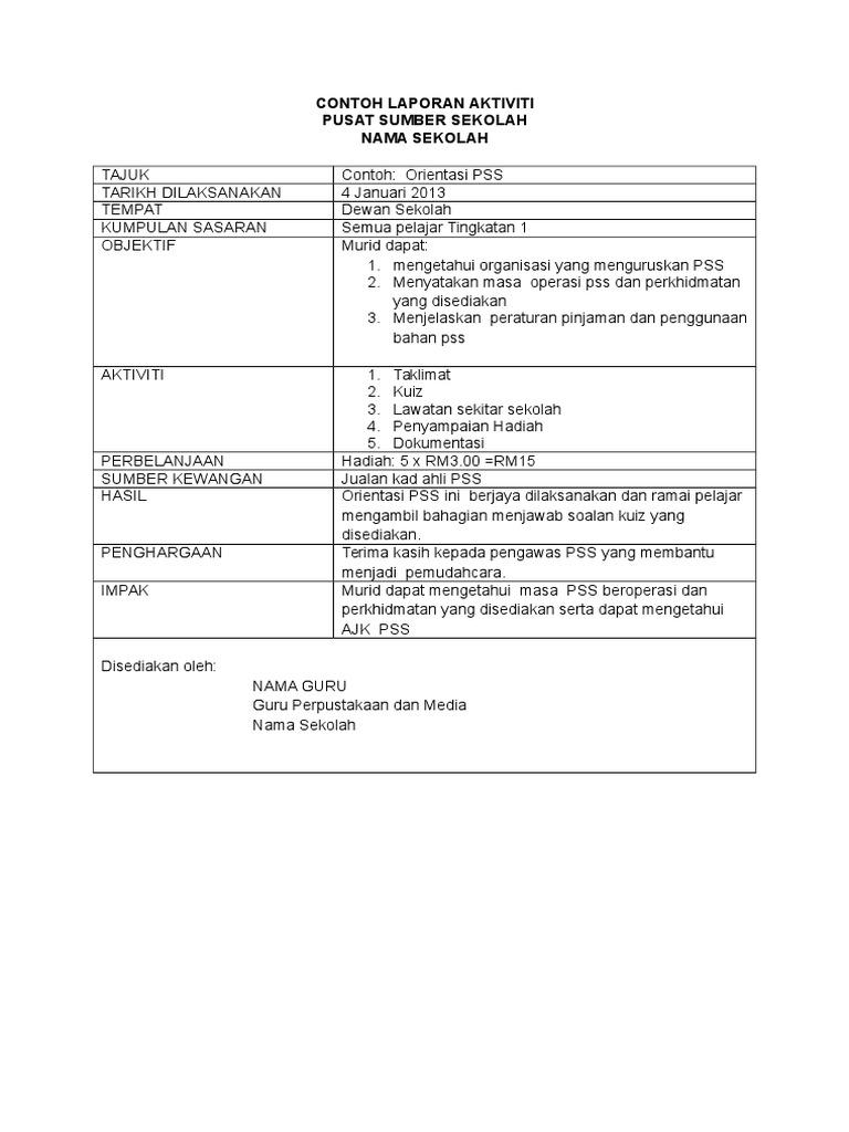 Contoh Format Laporan Literasi Maklumat