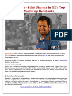 Sports News, Rohit Sharma In ICC's Top 10 World Cup Debutants