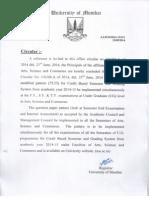 circular related to Mumbai university revised credit base system
