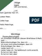 B1 Prüfung Schreiben Standardformulierungen