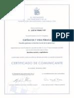 2002_11_17 Certificado de Comunicación IV Congreso Católicos y Vida Pública. Doctrina Social y Capitalismo.
