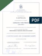 2003_11_16 Certificado de Comunicación v Congreso Católicos y Vida Pública. Multiculturalismo e Inspiración Cristiana de La Sociedad.