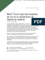 Belen Toimil logró dos medallas de oro en el Campeonato de España de cadetes