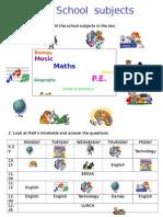 Schoolsubjects Worksheet